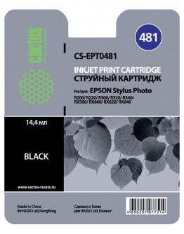 Картридж струйный Cactus CS-EPT0481 черный для Epson Stylus Photo R200/R220/R300/ R320/R340/RX500/ RX600/RX620/RX640 (14.4мл)