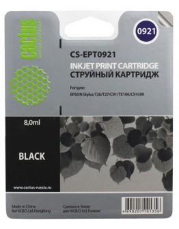 Картридж струйный Cactus CS-EPT0921 черный для Epson Stylus C91/CX4300/ T26/T27/ TX106/TX109/ TX117/TX119 (8мл)