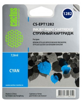 Картридж струйный Cactus CS-EPT1282 голубой для Epson Stylus S22/S125/SX420/SX425/Office BX305 (7мл)