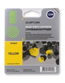 Картридж струйный Cactus CS-EPT1294 желтый для Epson B42/BX305/BX305F/ BX320/BX525/BX625/ SX420/SX425/SX525/ SX623 (10мл)