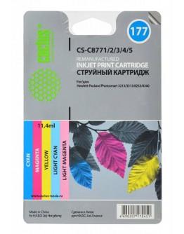 Картридж струйный Cactus CS-C8771/2/3/4/5 №177 голубой/пурпурный/желтый/светло-пурпурный/светло-пурпурный набор карт. для HP PS 2113/3313/8253/8200