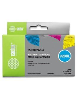 Картридж струйный Cactus CS-CD972/3/4 №920XL голубой/желтый/пурпурный для HP DJ 6000/6500/7000/7500