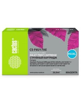 Картридж струйный Cactus 953XL CS-F6U17AE пурпурный (7.83мл) для HP OJ Pro 7740/8210/8218/8710/8715