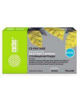 Картридж струйный Cactus 953XL CS-F6U18AE желтый (7.83мл) для HP OJ Pro 7740/8210/8218/8710/8715