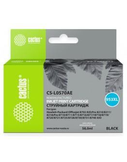 Картридж струйный Cactus CS-L0S70AE №953XL черный (8мл) для HP OJ Pro 7740/8210/8218/8710/8715