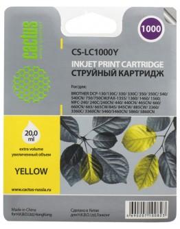 Картридж струйный Cactus CS-LC1000Y для Brother DCP 130C/ 330С, MFC-240C/ 5460CN, желтый