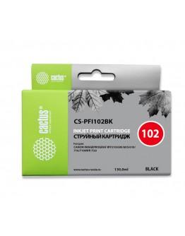 Картридж струйный Cactus CS-PFI102BK черный (130мл) для Canon iPF500/iPF600/iPF700/ MFP M40/iPF765/LP17/LP24