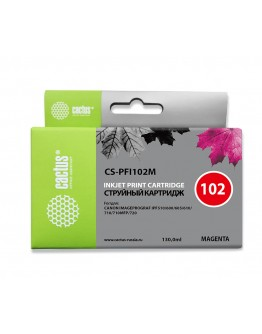 Картридж струйный Cactus CS-PFI102M пурпурный (130мл) для Canon IP iPF500/iPF600/iPF700/MFP M40/iPF765/LP17/LP24