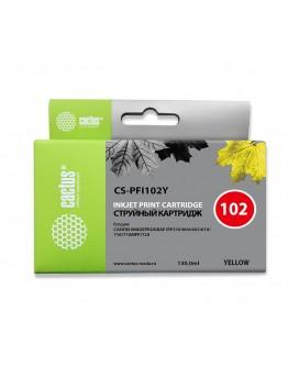 Картридж струйный Cactus CS-PFI102Y желтый (130мл) для Canon IP iPF500/iPF600/iPF700/MFP M40/iPF765/LP17/LP24