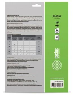 Пленка для ламинирования Cactus 100мкм A4 (25шт) глянцевая 216x303мм CS-LPGA410025