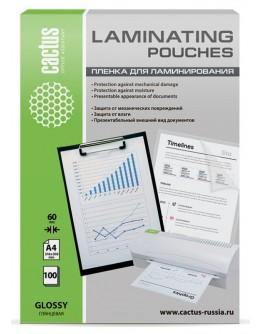 Пленка для ламинирования Cactus 60мкм A4 (100шт) глянцевая 216x303мм CS-LPGA460100