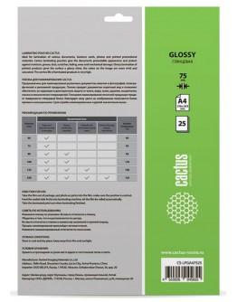 Пленка для ламинирования Cactus 75мкм A4 (25шт) глянцевая 216x303мм CS-LPGA47525