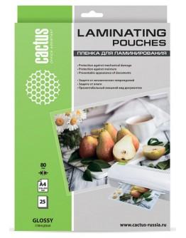 Пленка для ламинирования Cactus 80мкм A4 (25шт) глянцевая 216x303мм CS-LPGA48025