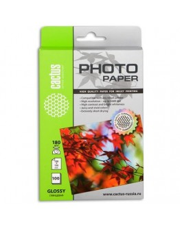 Фотобумага Cactus глянцевая для струйной печати, 10x15cm, 180г/м2, 100 листов