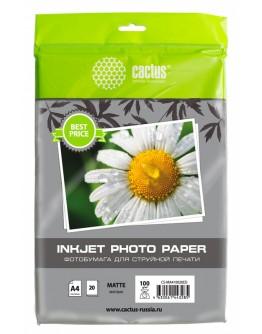 Фотобумага Cactus CS-MA410020ED A4/100г/м2/20л./белый матовое для струйной печати