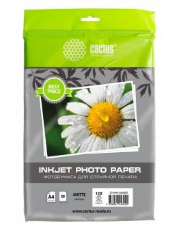 Фотобумага Cactus CS-MA412020ED A4/120г/м2/20л./белый матовое для струйной печати